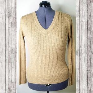 Tommy Hilfiger Camel Cable Knit Sweater